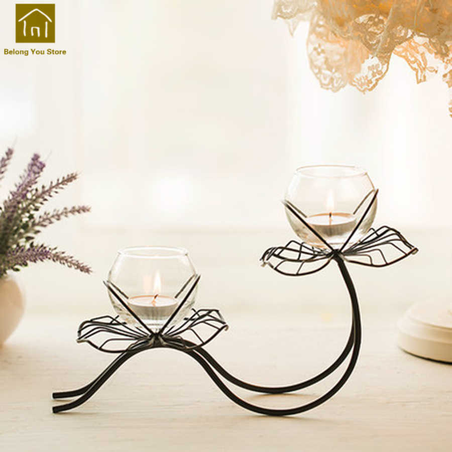 Bougie Décoration De Table glass candle holder stick wedding candlestick home iron candle stand table  candelabra lanterne bougie table decoration wkl024