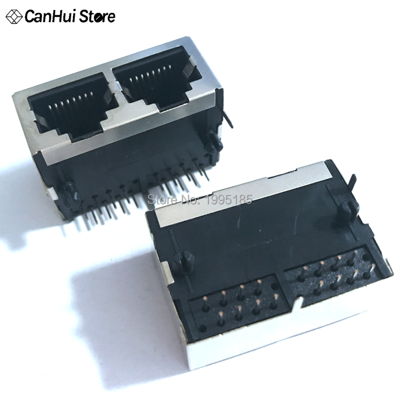 5PCS 1*2 RJ45 Metal 16 Pin Female PCB Right Angle Board Jack Connector 8P8C Crystal Head Socket 1x2 21mm Network Interface