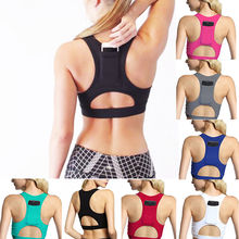 a9f3e34135 Women Sexy Back Phone Pocket Sports Bras Hollow Out Shockproof Padded Push  Up Yoga Bra High