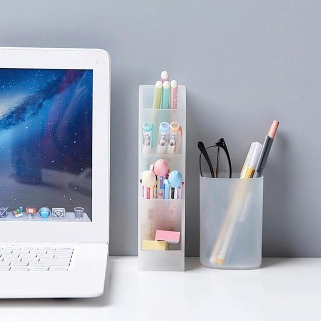Transparent Gefrostet Nette Desktop Stift Halter Büro Schule Lagerung Fall Klar Weiß Schwarz Kunststoff Box Schreibtisch Stift Bleistift Veranstalter