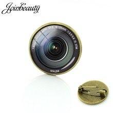 Joinbeauty fotografia câmera lente broches dslr lentes arte imagem de vidro cabochão cúpula emblema popular pinos jóias presentes t371