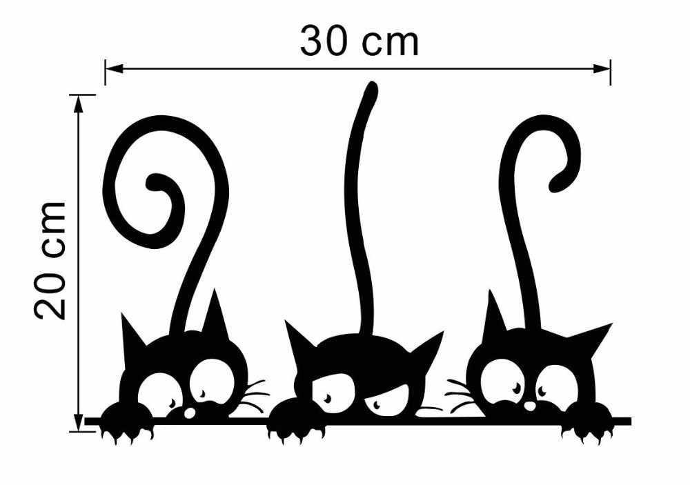 Đáng Yêu 3 Mèo Đen Dán Tường Dán Động Vật Trang Trí Phòng Cá Tính Vinyl Decal Dán Tường