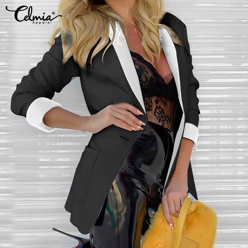 Women Blazers Celmia 2020 Autumn Long Sleeve Turn-down Collar Coat Ladies Business Suit Cardigan Jacket Suit Tops Plus Size 5XL