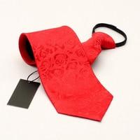Nueva 10 cm de Ancho Estilo Cremallera Hombres Perezosos Moda Lazos de Negocios Formal grande Corbata Del Banquete de Boda Esmoquin Rojo Lazo Floral Con El Regalo CAJA
