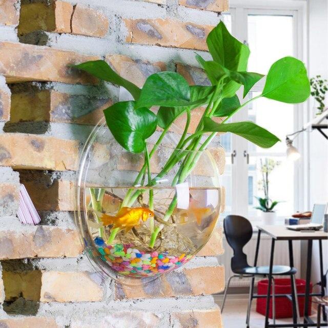 Online Shop Oselif Round Wall Hydroponic Aquarium Vase Round Fish