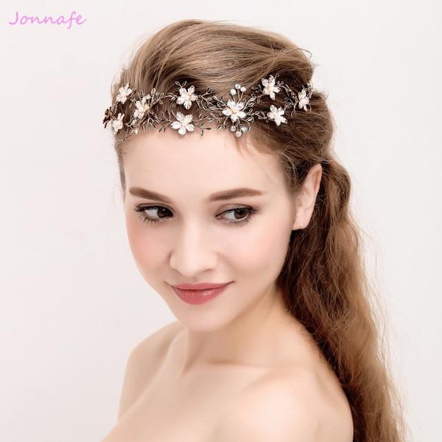 Jonnafe Vintage Gold Branch Headband Bridal Hair Accessories Wedding Tiara  Hair Piece Women Prom Jewelry Headbands e028366fe52