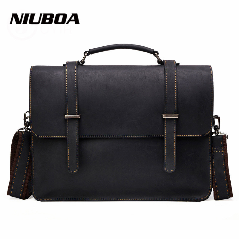 NIUBOA 100% Top Cow Genuine Leather Shoulder Bags Versatile Casual Crazy Horse Handbag Men Messenger Bag Business Briefcase Tote niuboa 100