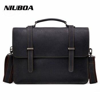 NIUBOA 100% Top Cow Genuine Leather Shoulder Bags Versatile Casual Crazy Horse Handbag Men Messenger Bag Business Briefcase