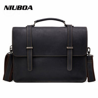 NIUBOA 100 Top Cow Genuine Leather Shoulder Bags Versatile Casual Crazy Horse Handbag Men Messenger Bag