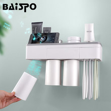BAISPO Magnetic Adsorption Toothbrush Holder Inverted Cup Wall Mount Bathroom Cleanser Storage Rack Bathroom Accessories Set(China)
