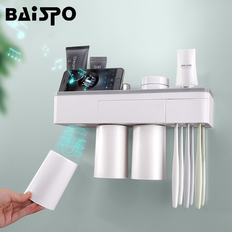 BAISPO Magnetic Adsorption Toothbrush Holder Inverted Cup Wall Mount Bathroom Cleanser Storage Rack Bathroom Accessories Set image