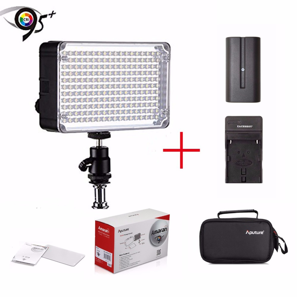 Aputure Amaran AL-H198 CRI95+ 5500K Camera LED Video Light for Sony +Hot Shoe Mount Carrying Bag+Battery+Charger for Sony Camera