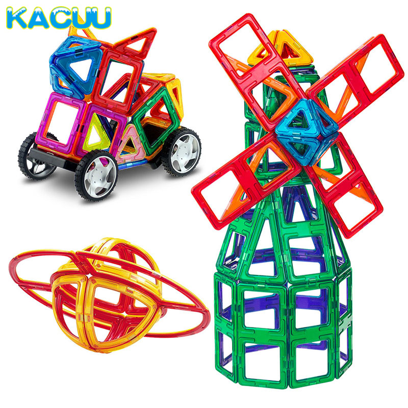 BIG SIZE 158PCS Magnetic Blocks Magnetic Designer Construction 3D Model Magnetic Blocks Educational Toys For Children
