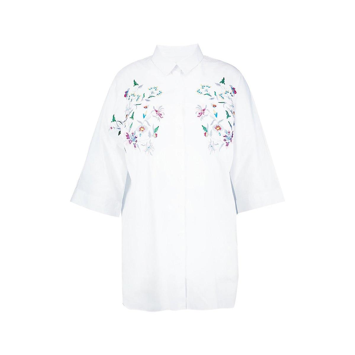 Kissmilk Women Plus Size Foral Embroidery Turn Down Collar Shirt Nine Quarter Sleeve Solid Basic Shirt Large Size Casual Shirt 4