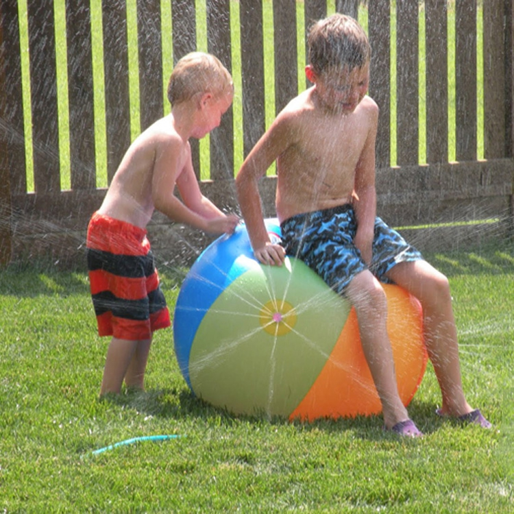 Multicolor Outdoor Children Water Toy Giant Inflatable Beach Ball Sprinkler Inflatable Water Ball Play Fun Environmental PVC