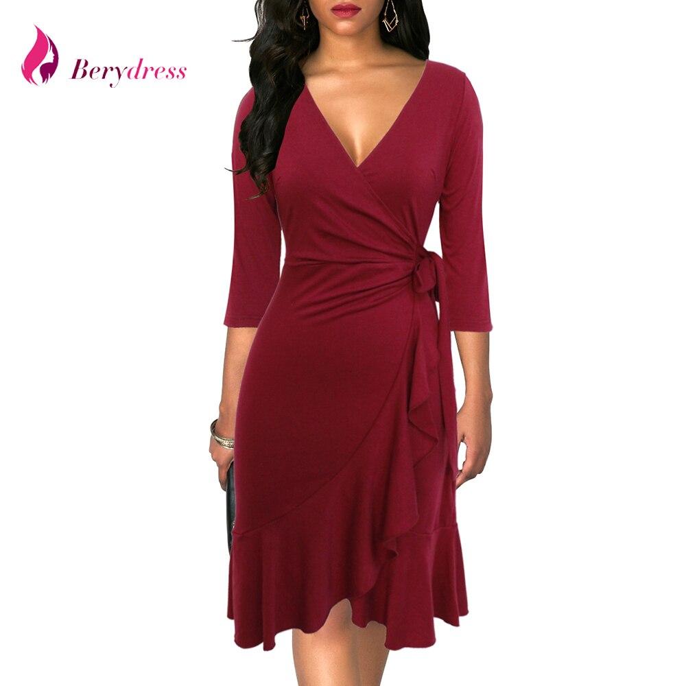 Berydress Sexy V Neck Sheath Bodycon Burgundy Ruffle Dress Three Quarter Sleeve Belted Casual Party Black Wrap Dress Knee Length