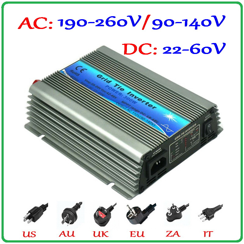 300W Grid Tie Inverter 22-60VDC Input Pure Sine Wave 190-260VAC or 90-140VAC Output MPPT Battery Wind Solar on grid inverter