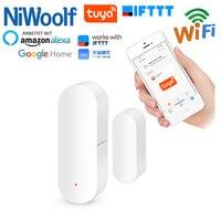 Tuya wifi detector de porta janela da porta detectores abrir/fechar o sensor compatível com a casa do google/alexa/ifttt smart life app