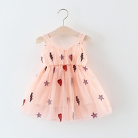 Baby Girls Mesh Star Loving Heart Spaghetti Strap Dress Kids Infant Princess Tutu Summer Beach Sundress