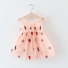 Baby Girls Mesh Star Loving Heart Spaghetti Strap Dress Kids Infant Princess Tutu Summer Beach Sundress vestido infantil