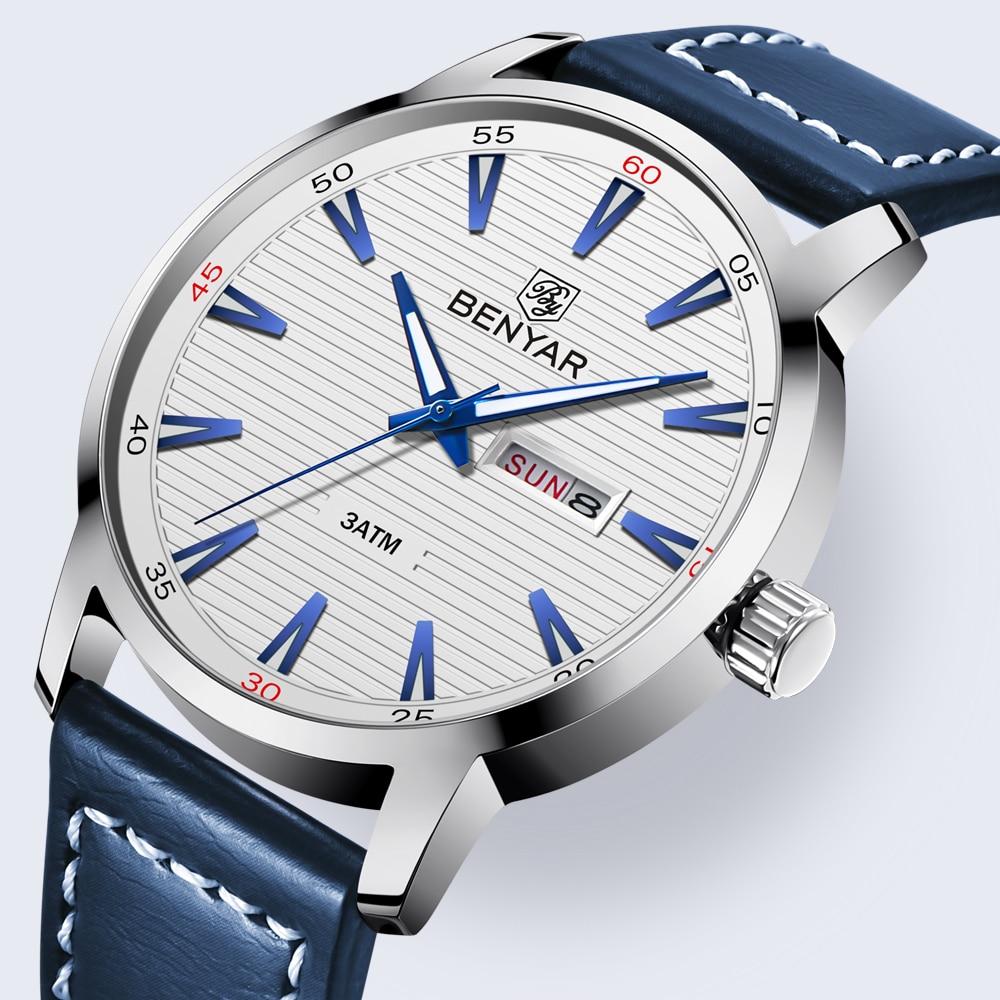 New Luxury Brand BENYAR Watches Men Leather Quartz Watch Fashion Week Date Watch Reloj Hombre Sport Clock Male Relogio Masculino