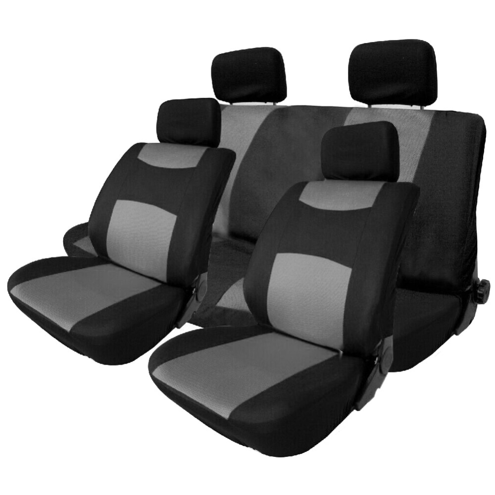 VODOOL 10Pcs Set Universal Car Seat Protector Covers Breathable Automobile Front Back Headrest Cover Interior Styling