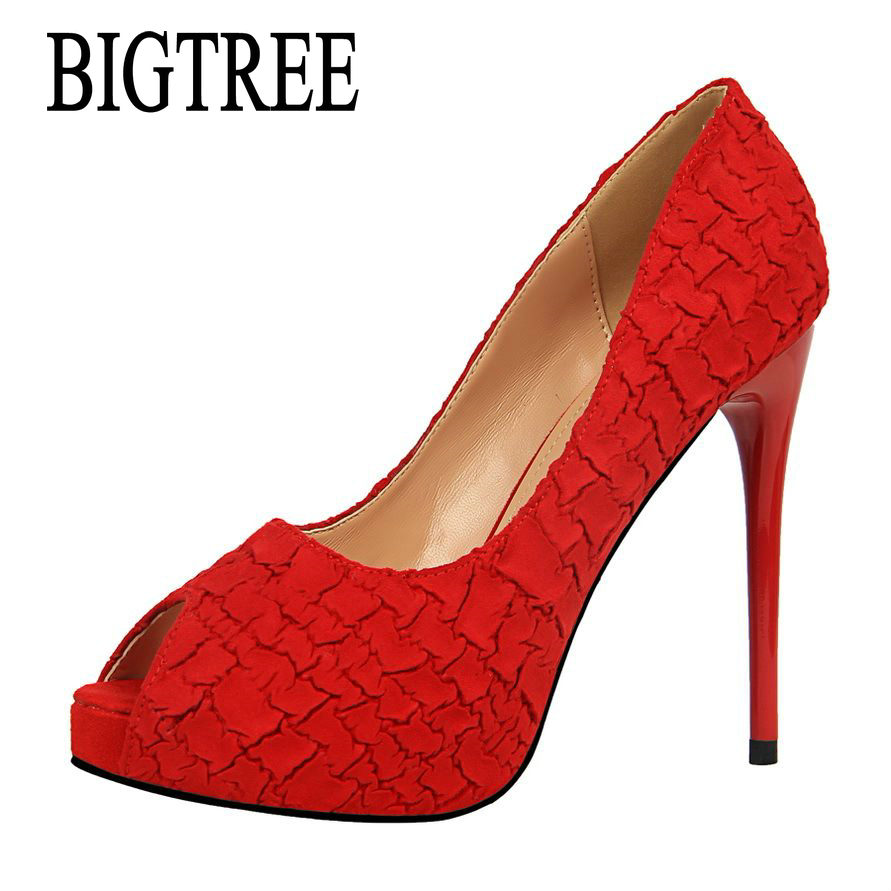 BIGTREE Summer Open Toe Pumps Thin Heeled Party High Heels Shoes Sexy Single Female Red Platform Sandals Women High Shoes 1675-3 e toy word summer platform wedges women sandals antiskid high heels shoes string beads open toe female slippers