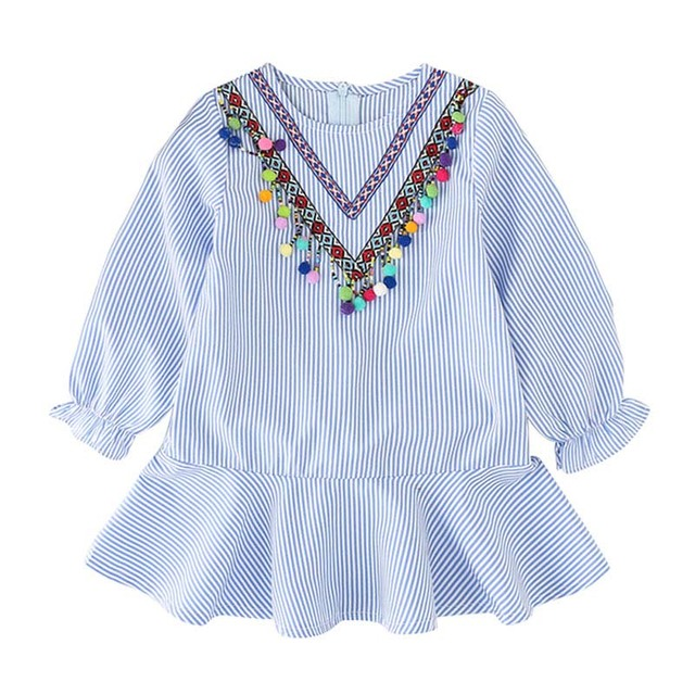52e81f5d8 Vestidos para niños estilo étnico chica hoja de loto manga larga niños vestido  azul rayas coloridas