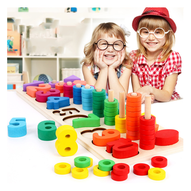 Learning Education Montessori Math Toys Wooden Materials Toy Wood Count Numbers Matching Digital Education Toys for Girls Boy