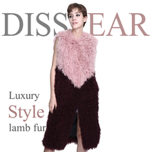 2018 Women Natural Lamb Fur Coat Winter Women Sleeveless Warm Causal Real Fur Jacket Overcoat Ladies Genuine Fur Vest Female