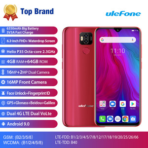 """Image 2 - Ulefone power 6 Smartphone Android 9.0 Helio P35 Octa core 6350mah 6.3"""" 4GB 64 GB 16MP face ID NFC 4G LTE Global Mobile Phones"""