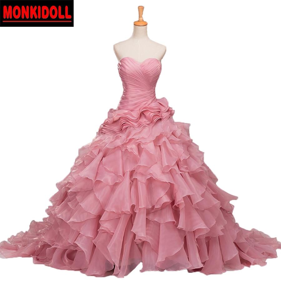 Robe de mariée sans bretelles rose Photo réelle 2019 ruché volants Organza robe de bal Blush robes de grande taille de mariée robe de mariage