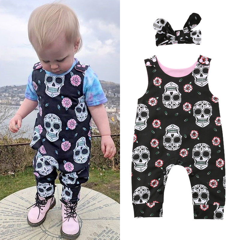 2Pcs Halloween Newborn Baby Boys Girls Skull Flower Romper Jumpsuit Outfits Set