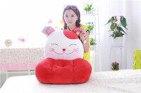 Felpa encantadora plutus gato sofá niños juguete rojo del gato del plutus de la historieta tatami sofá regalo de juguete de 50x45 cm