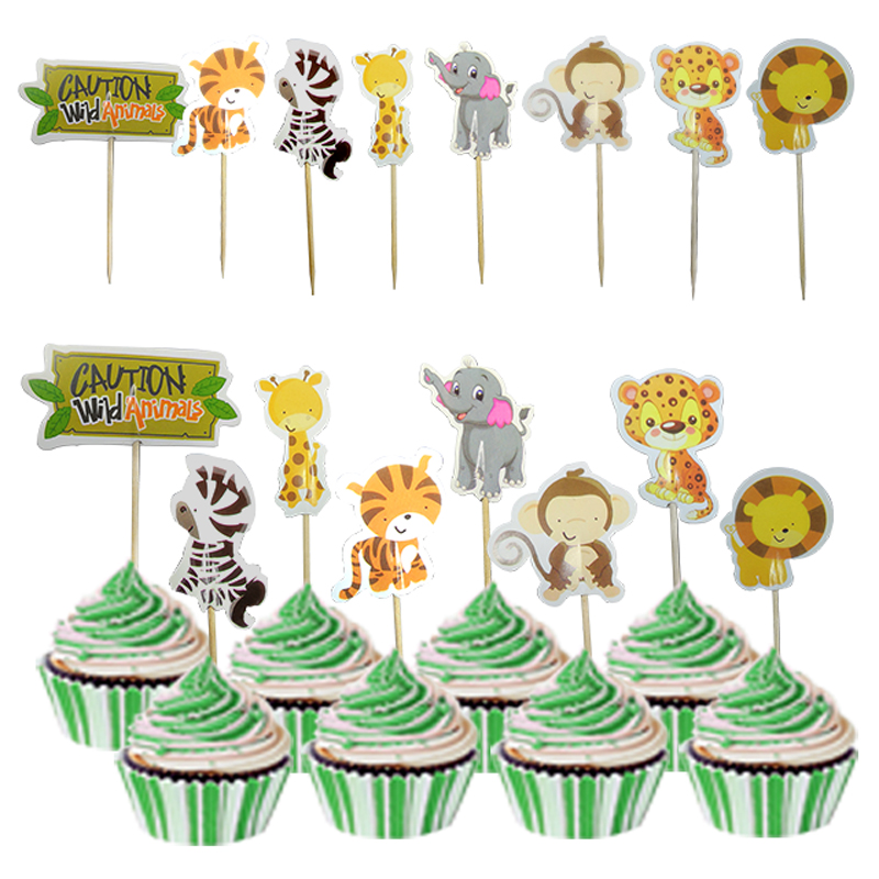 24pcs Safari Jungle Party Animal Cupcake Toppers Picks Birthday Party Decoration Kids Baby Shower Girl Favors Cupcake Toppers