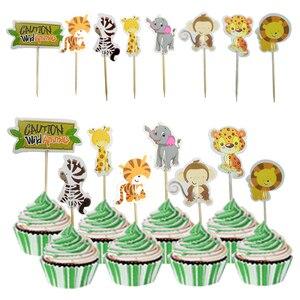 24 шт сафари джунгли вечерние животное, кекс Toppers выбирает День Рождения вечерние украшения дети ребенок душ девушка сувениры кекс Toppers