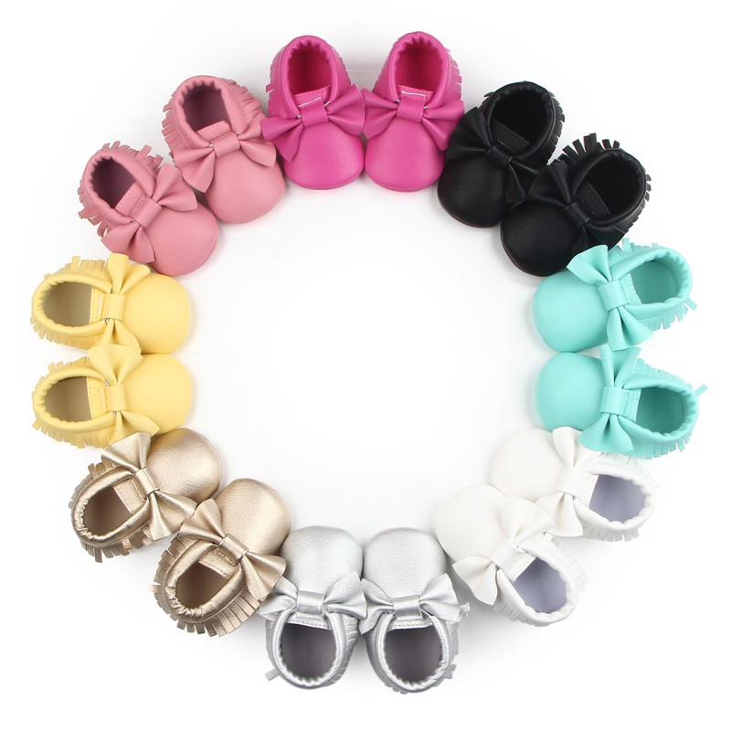 Leather Baby Moccasins Shoes Leather Tassel Shoes For Baby Girl  Infant Prewalk Leather Sneaker Crib Leather Soled Newborn Shoes