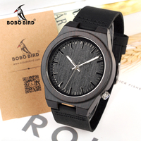 Fashion 2016 Men Watch With Genuine Leather Band Black Wood Watches Japan Move Quartz Wood Wrist