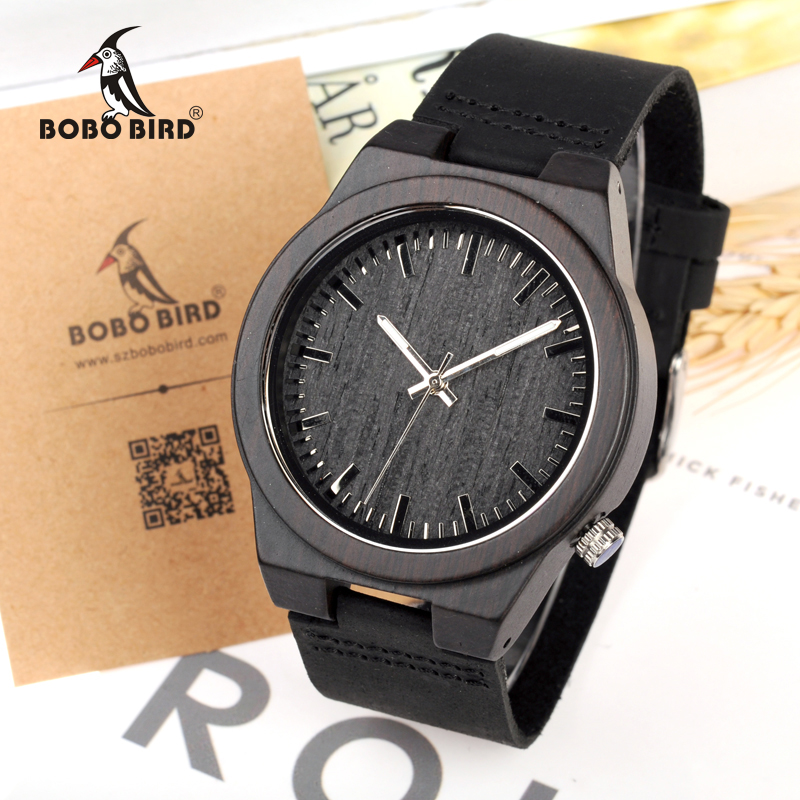 BOBO BIRD Watches Men Genuine Leather Band Black Wood Watch Japan Move' Quartz Wood Wristwatches relogio masculino C-B12 bobo bird new luxury wooden watches men and women leather quartz wood wrist watch relogio masculino timepiece best gifts c p30
