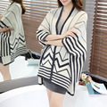 Cardigan Feminino fashion autumn women Loose Knit Sweater casual striped long knitwear shawl