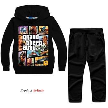 Z & Y 2-14 años Grand Theft Auto Gta V 5, conjunto de ropa con capucha Y pantalones, conjunto para niños pequeños, ropa para niños, chándal, traje deportivo