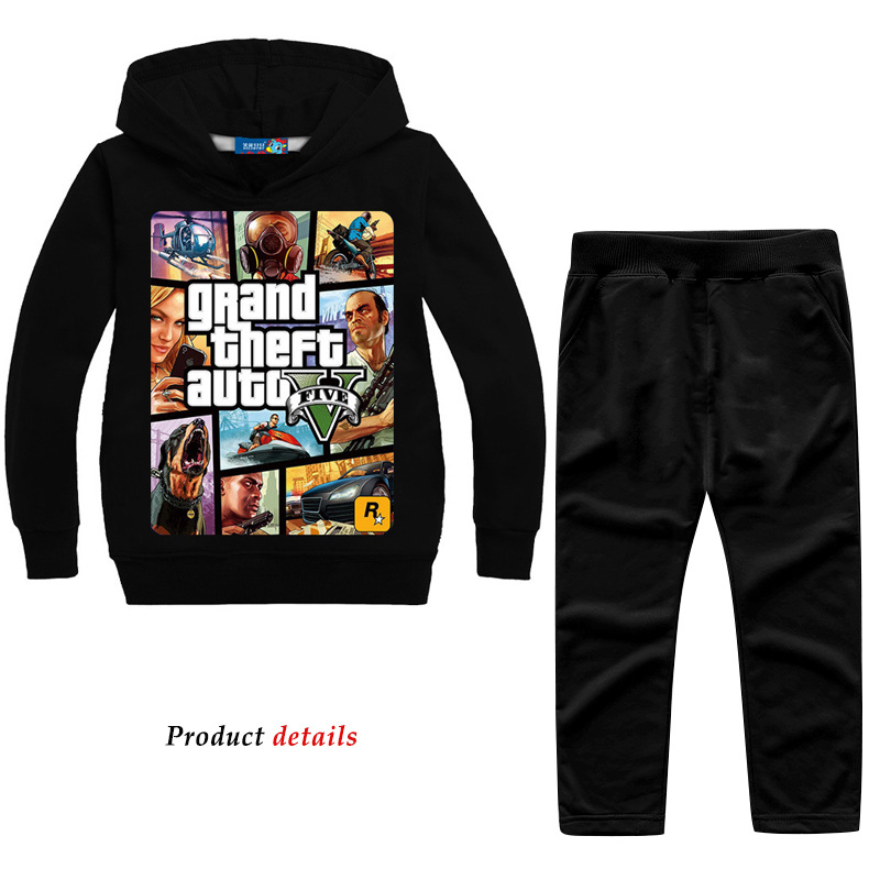 Z&Y 2-14Years Grand Theft Auto Gta V 5 Clothing Set Hoodie And Pants Set Toddler Boys Clothing Kids Tracksuit Sportsuit Outfit