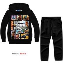 Z & y 2 14years grand theft auto gta v 5 conjunto de roupas com capuz e calças conjunto criança meninos roupas crianças agasalho sportsuit outfit