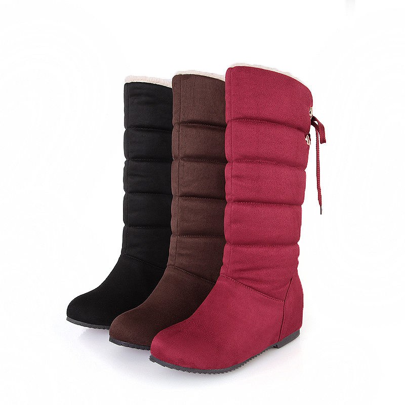 Snow Boots Women Winter Wedges Knee High Boots Warm Plush Anti-slip Women Shoes Lace -up Suede Bottes Botas Mujer