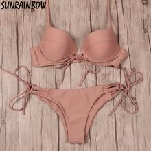 Sexy Bikinis Women Swimsuit 2016 Push Up Swimwear Bandage Cut Out Bikini Set Halter Summer Beach Wear Bathing Suit Swim Black XL