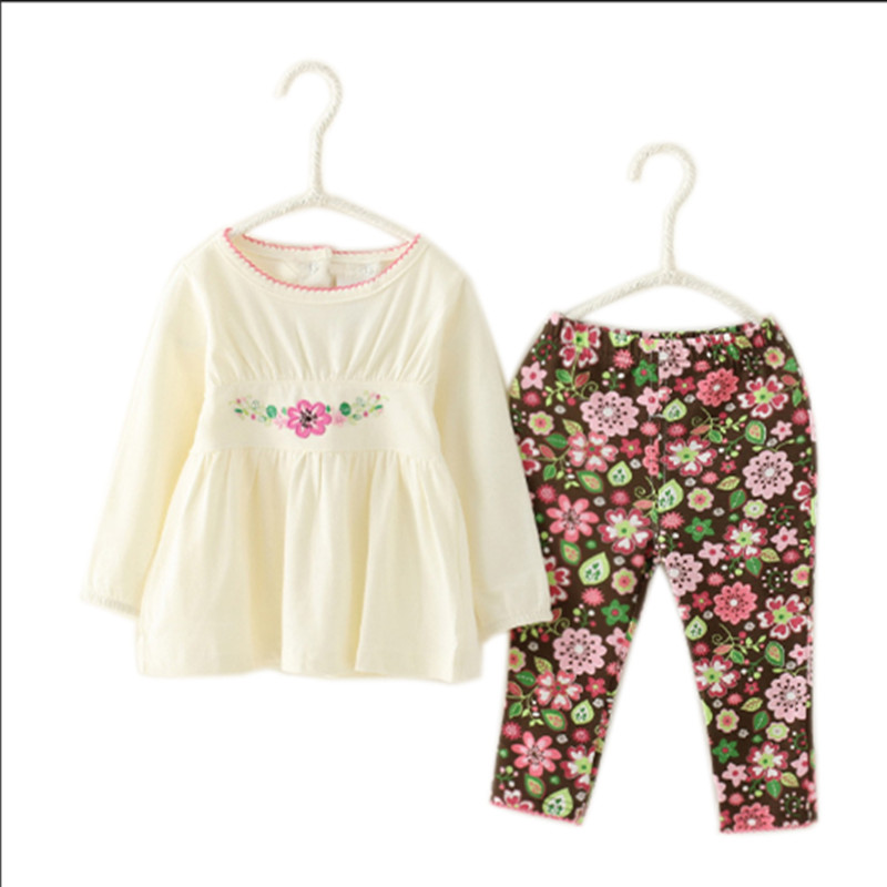 White Kids Baby Girls Clothing Set Print Flowers Pant &T- Shirt 2-Piece Casual Outfits Clothes Suit for Children Girl Wear