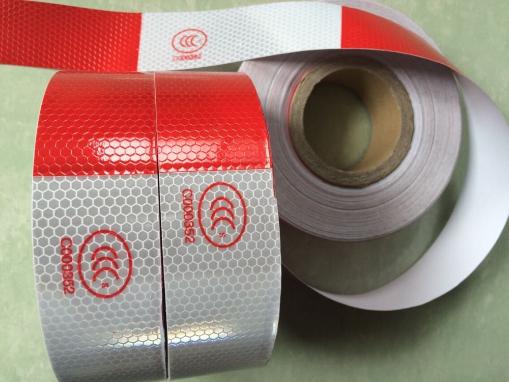 5cm*45 High Visibility Reflective Tape White And Red Reflective Warning Tape Directly Paste For Van Car Warning Posted