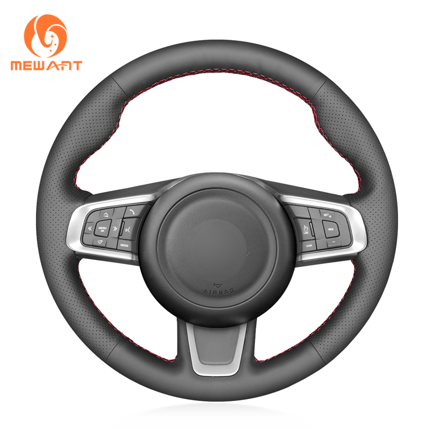 MEWANT Black Genuine Leather Car Steering Wheel Cover for Jaguar E Pace 2017 2019 F Pace