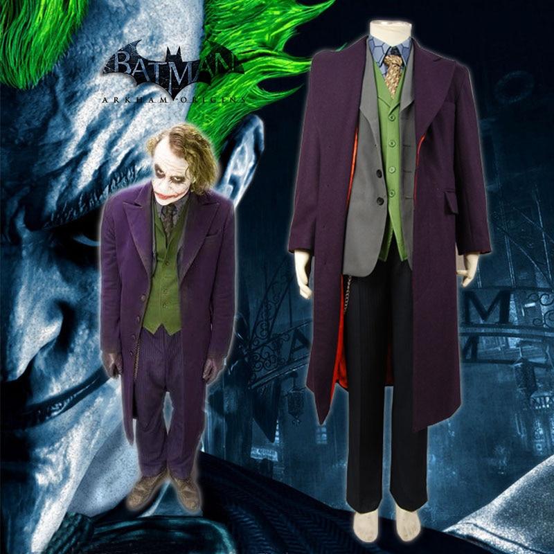 Batman Dark Knight Joker 6 pcs Cosplay Costume Full Set Wool Trench Coat Version For Adult Men Ful Set Coat Shirt Vest Pants Tie