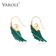 VAROLE Colorful Natural Stone Feather design Dangle Earrings Unique Gold Color Long Drop Earrings For Women Earings Brincos
